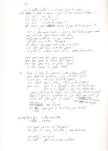 Bono's handwritten lyrics