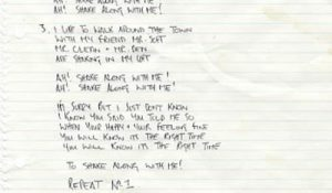 Noel Gallagher Handwritten Lyrics